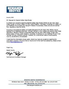 BOI MSDS Product Exemption Letter